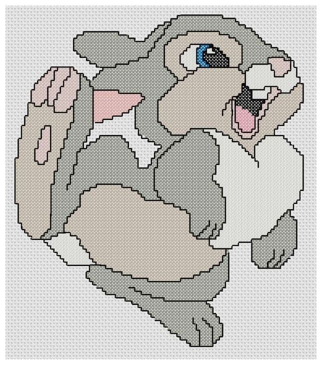 The stitch count for this Disney cross stitch pattern is 96 wide by 106 high and uses 8 DMC colors.