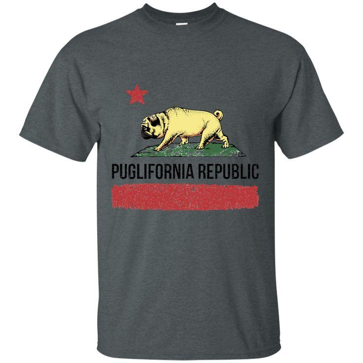 [DoggyNation] Puglifornia Republic Graphic Short Sleeve Crew Neck Shirt