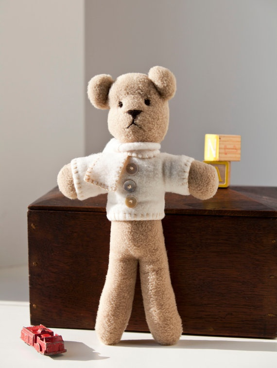 Simply Classic Teddy Bear w/Vintage Button Sweater (Houston)