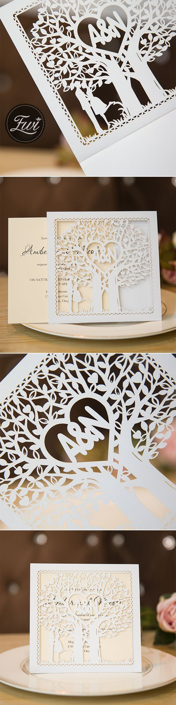 invitation wordings for wedding by bride and groom%0A Chic rustic love tree bride and groom laser cut wedding invites  wedding  invitation