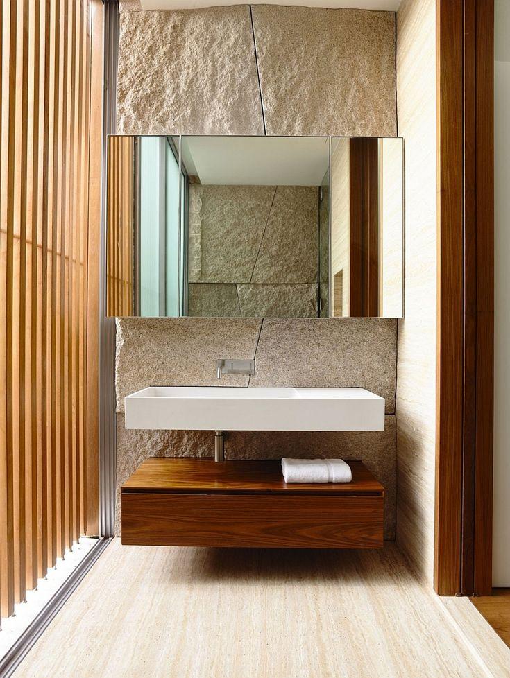 Floating bathroom vanity and sink in the luxurious bath