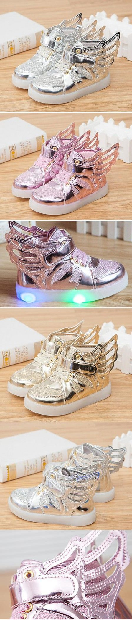 New spring 2016 Children Led Lights Shoes Boys/Girls Light Kids Shoes Chaussure Enfant Luminous With Wings Sneaker Casual