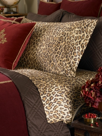 Leopard sheets ~ love 'em with my western bedding :)