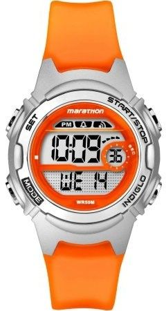 Timex Marathon by Women's Digital Mid-Size Watch, Translucent Orange Resin Strap