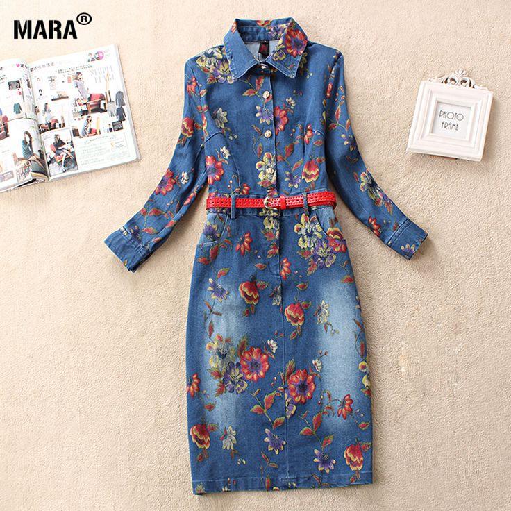 2016 платье женщины дизайн бренда с длинным рукавом цветочный принт женщины карандаш джинсовой женщин свободного покроя синие джинсы платья Большой размер купить на AliExpress