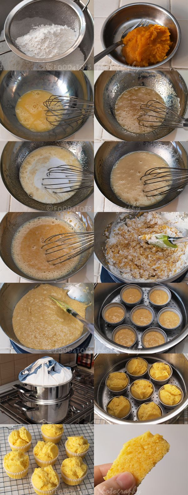 How to make steamed pumpkin muffins - http://food-4tots.com/2011/06/08/steamed-pumpkin-muffins/