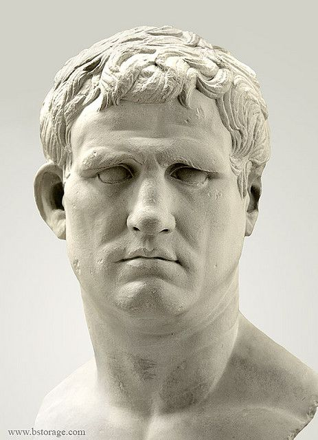 """Marcus Agrippa (Italian General) He first served under Julius Ceasar after Ceasar's assassination he became the General under Octavius and defeated Mark Anthony and Cleopatra at the battle of Actium. He enlarged the empire and brought it such wealth the emperor Octavius claimed,""""I started my reign in brick and ended it in Marble."""" (Rome)"""