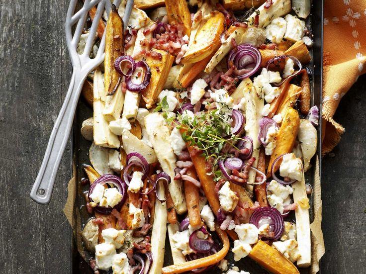 Vergeten groenten met feta en spekjes