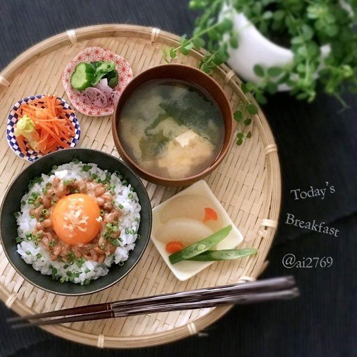 日本人の朝ごはん/ Japanese Breakfast 作ってみたい!和食を華やかにする「和ンプレート」ごはんの盛り付け方 - Locari(ロカリ) 普通だけどこんなんが一番美味しい(่ω่ ) あと刻み海苔有ったら完璧。