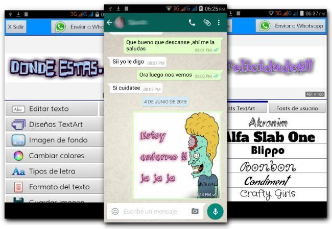 Con TextArt puedes hacer textos personalizados para WhatsApp, incluso agregar texto a imágenes y enviarlas como mensajes a tus amigos.