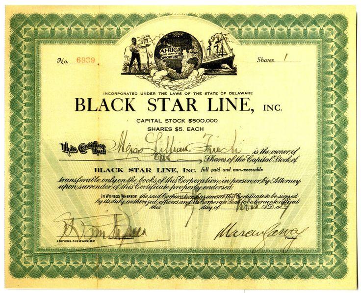HISTORIC BLACK STAR LINE STOCK CERT SIGNED BY MARCUS GARVEY (REPRINT) ORIG AVAIL