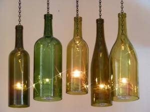 Looks like wine bottles with candles in them! Very cool!