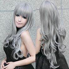 "32 "" 80 cm largo gris Pelucas onduladas gris Woemn Sexy Lolita Cosplay peluca fiesta de disfraces peluca para Halloween fiesta navidad Peruca Pelucas(China (Mainland))"