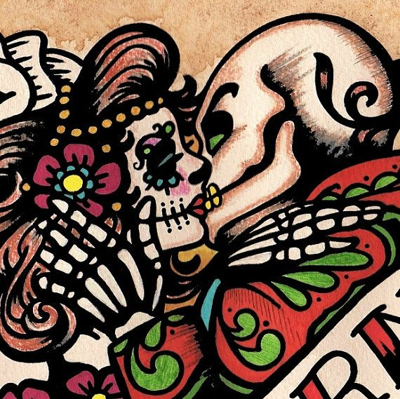 Dia de los Muertos AMOR ETERNO Day of the Dead Art Print 8 x 10 or ...