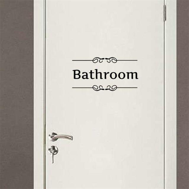 Sinal de Entrada de porta da sala de chuveiro do banheiro adesivos decoração decalques da parede Para Loja Home Office Cafe Hotel
