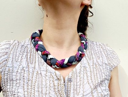 Eco-Friendly - Textile Necklace Reclaimed fabrics and vintage glass button closure.   https://cherryberry.felt.co.nz