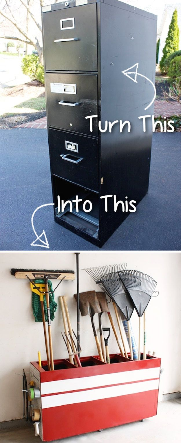 DIY Furniture Hacks |  File Cabinet into a Garage Storage Favorite  | Cool Ideas for Creative Do It Yourself Furniture Made From Things You Might Not Expect - http://diyjoy.com/diy-furniture-hacks
