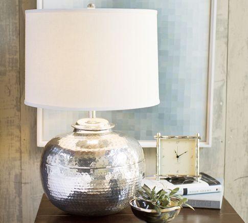 Pierce bedside lamp base silver lamp for nursery
