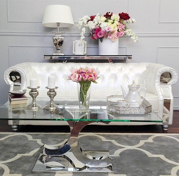Stolik kawowy konsola ława stal nierdzewna szkło srebrny przeźroczysty czarny styl glamour COCO 2
