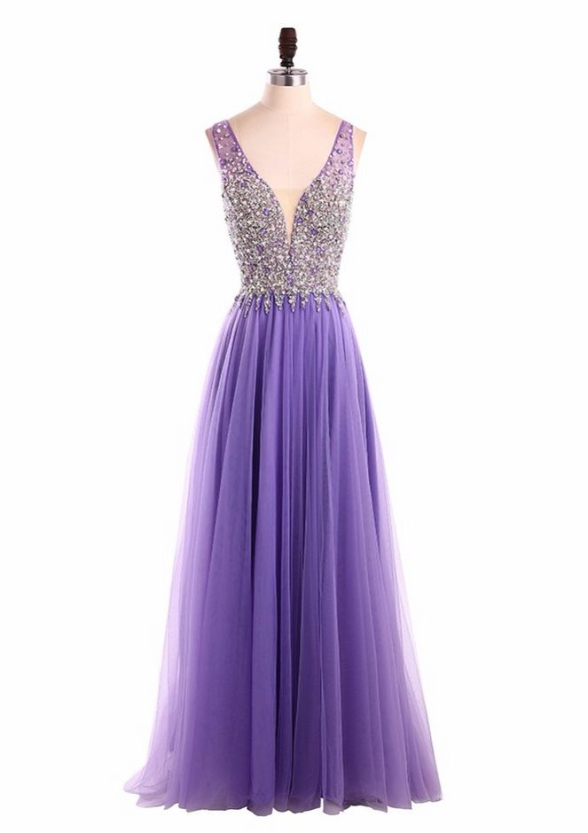 Long Purple Evening Dress Robe De Soiree V Neck Sequins Beading Luxury Tiered Formal New Year Dresses