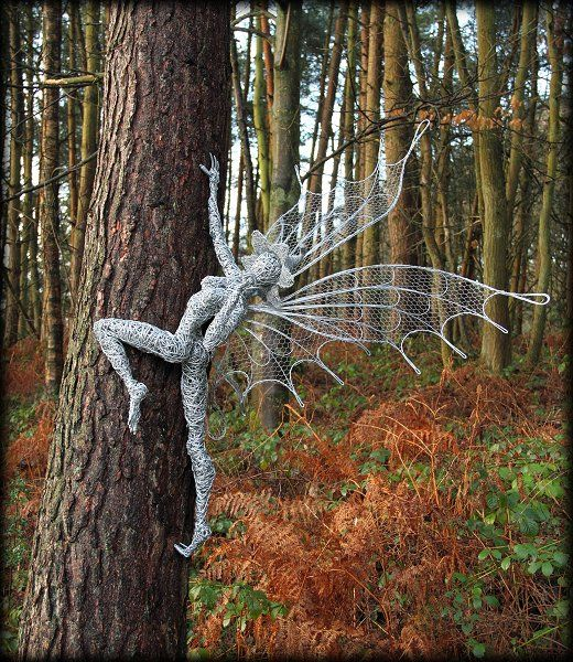 Robin Wight made me a version of 'Rusty' with a dandelion puff. She is now called Flora Clementine Esterhazy and lives in our walnut tree.  Fantasy Wire Fairies Sculptures