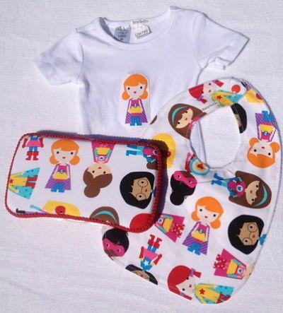 Girls Super Hero Gift Set-girls super hero print gift set baby shower gift bib baby wipe case onesie