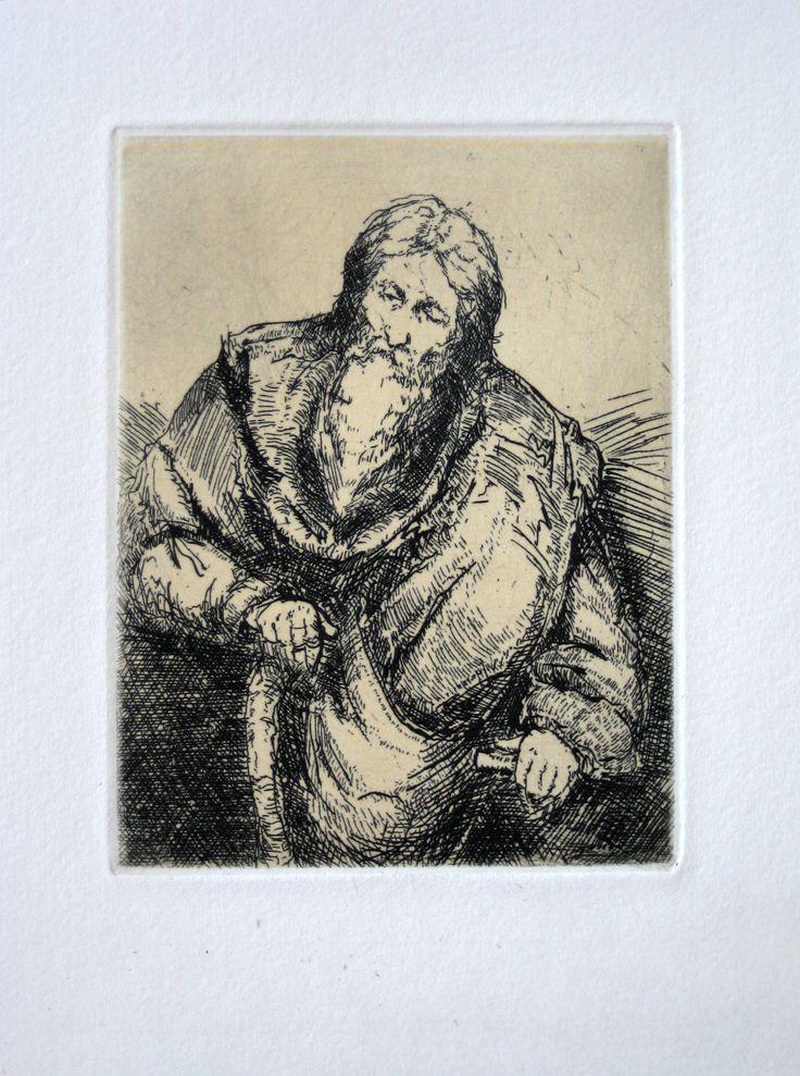 Vecchio, etching, 8cm x 12cm by Matthew James Collins