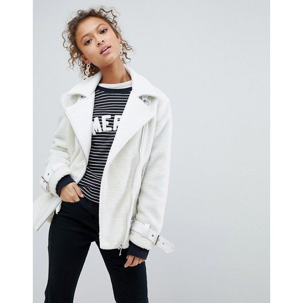 Miss Selfridge Borg Oversized Aviator Jacket ($100) ❤ liked on Polyvore featuring outerwear, jackets, white, white jacket, miss selfridge, baggy jackets, aviator jacket and asymmetrical zipper jacket