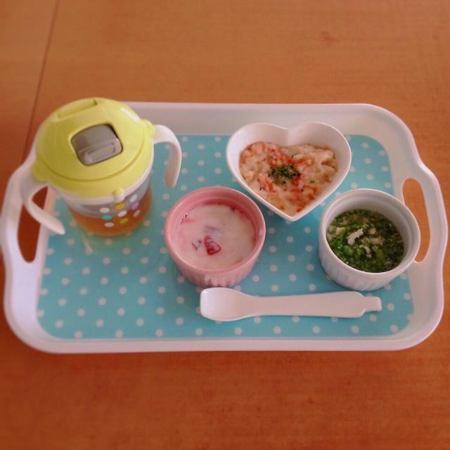 ♢トマトとチーズのパン粥 ♢ササミとブロッコリーのスープ煮 ♢いちごヨーグルト ♢麦茶 - 5件のもぐもぐ - 離乳食 by kaiton0312