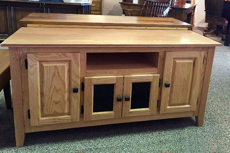 Solid Red Oak TV Stand In S2 Finish