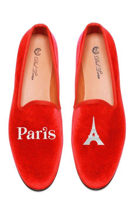 Perfect for Xmas!! Shop Del Toro Prince Albert Paris | Eiffel Tower Slipper Loafers at Moda Operandi
