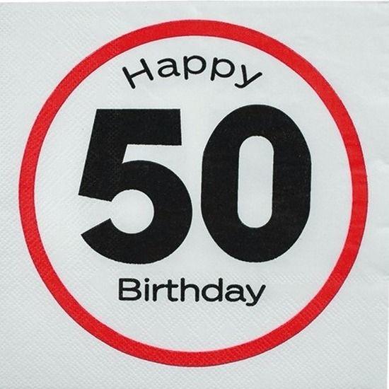 Pakje met 20 witte papieren servetten met verkeersbord opdruk en de tekst: Happy 50 Birthday. De 3-laags servetten zijn gemaakt van papier. Formaat uitgevouwen servet: 33 x 33 cm.