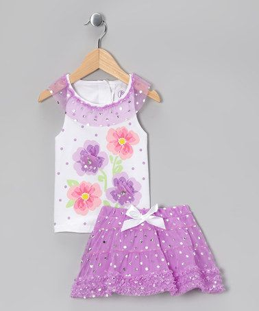 Take a look at this White Floral Tank & Purple Ruffle Skirt - Infant & Girls by Young Hearts on #zulily today!