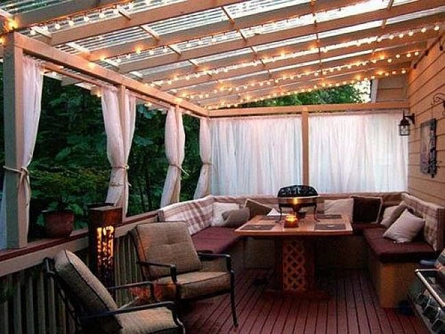 Exteriors : Outdoor Wooden Deck With Pergola Porch Awning Ideas And White Sheer Curtains Cover Also Amazing Bulb Ceiling Light Important Things Related to Porch Awning Ideas Aluminum Awnings. Patio Awning. Window Awnings.
