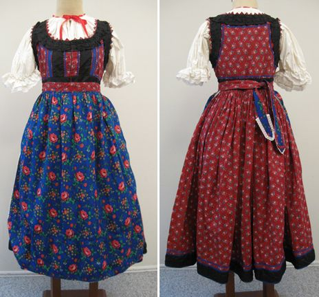 Hungarian folk costume, front (left) and back (right), with blouse, jumper, apron, and petticoat