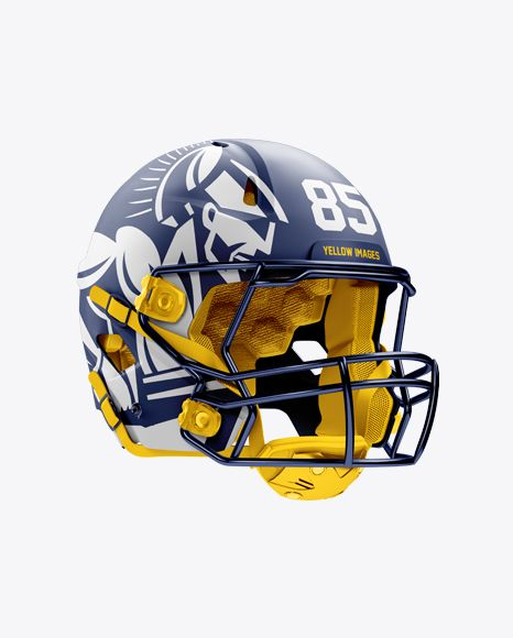 Matte American Football Helmet Mockup - Halfside View
