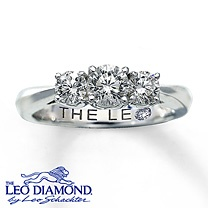 14K White Gold 1 Carat t.w. 3-Stone Leo Diamond Ring--Classic