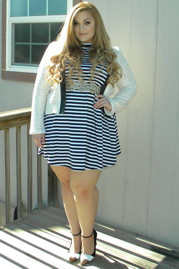 Loey Lane wearing FTF's MockNeck Stripe Jersey Dress. # ...