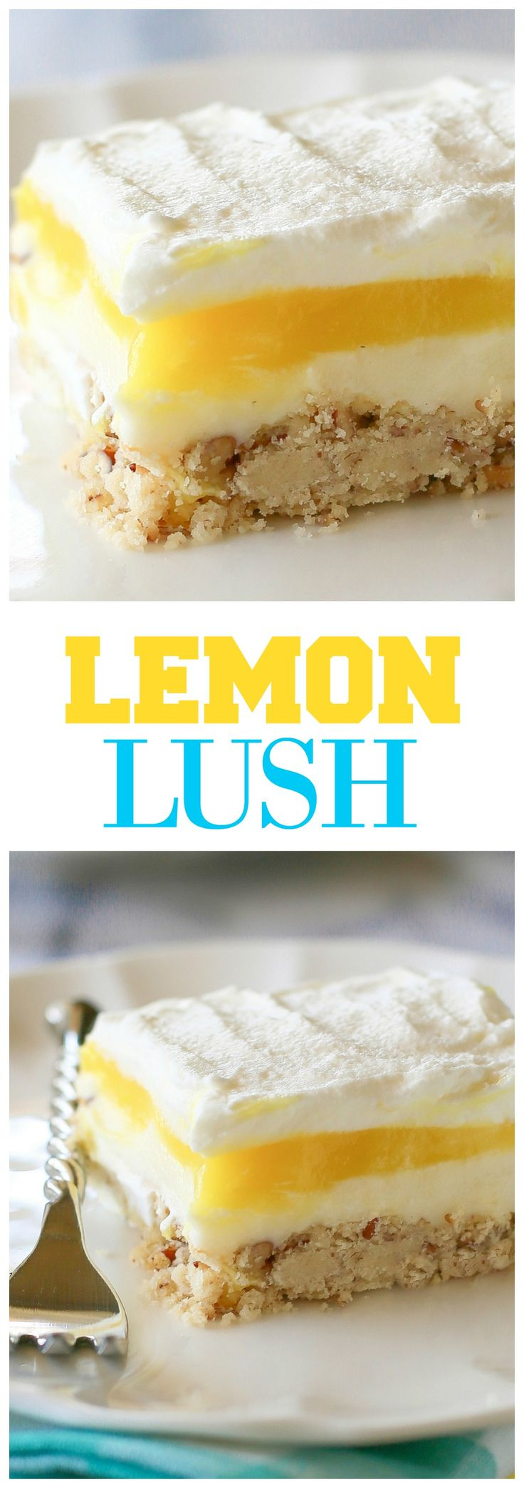 Lemon Lush - a light and refreshing lemon dessert with a shortbread crust. the-girl-who-ate-everything.com