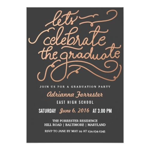 Lets Celebrate The Graduate Rose Gold Chevron Card