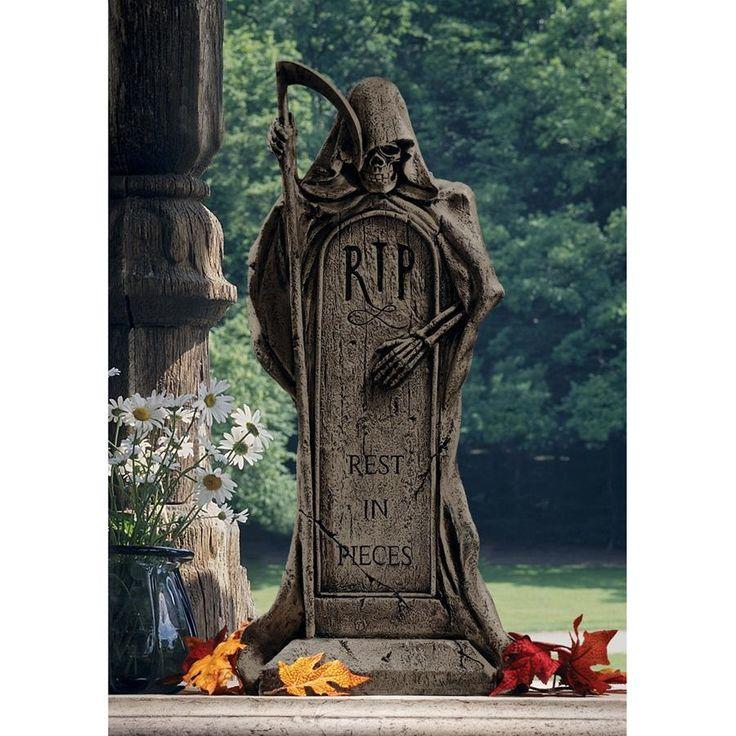 Rest IN Pieces Grim Reaper Tombstone Design Toscano gothic halloween tomb RIP, Tan, Outdoor Décor