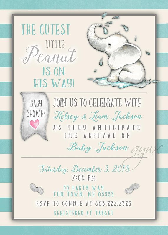 Elephant Baby Shower Invitation Boy Printable Digital File