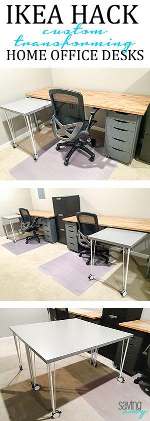 IKEA Hack: Custom, Transforming Home Office Desks #ikeahack #ikeahackers #ikeahacking #homeinspiration #diyblogger  #savingamyblog