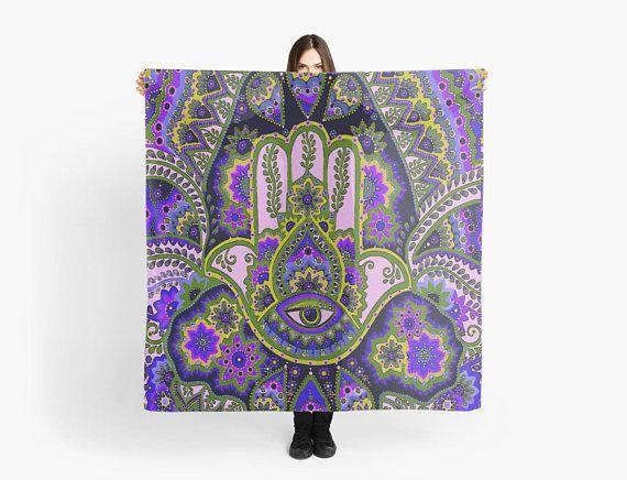Hamsa/hand purple/green scarf/wrap Foulard carré 140 cm