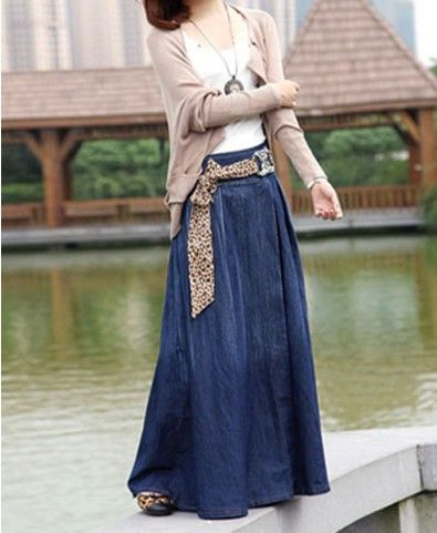 Cardigans | Blue maxi denim skirt from chicnova. Skip the leopard print, but otherwise, this is one of my dream outfits.
