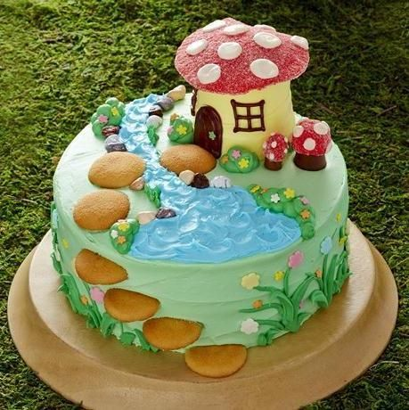 Cute Fairy-tale #Cake with gorgeous toadstool house and awesome steps detail across the top and in 3D down the side of the cake! We love and had to share! Great #CakeDecorating!