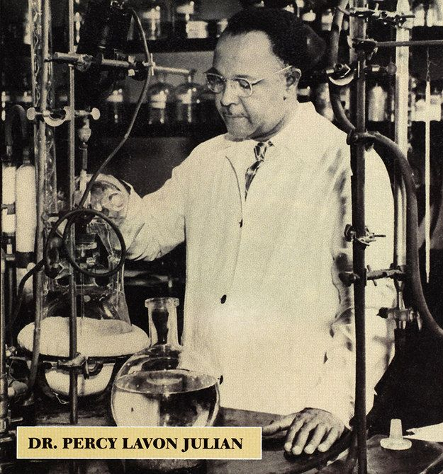 Percy Lavon Julian | Percy Julian — born in Montgomery, Alabama — escaped the dangerous Jim Crow culture of the South and went on to become a chemist. Lauded for his work with human hormone synthesis, Julian set the stage for steroidal drug production (including cortisone and birth control pills).
