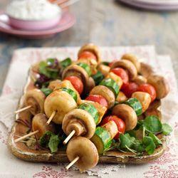 Mushroom, chicken and vegetable kebabs
