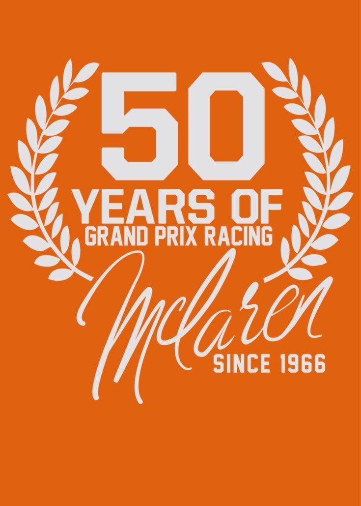 McLaren celebrates 50 years of F1 racing.