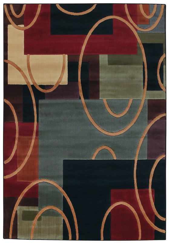 Impressions Collection Elipse Multi Color Contemporary Area Rug   Shaw Rugs  | Rugs By SelectRugs.